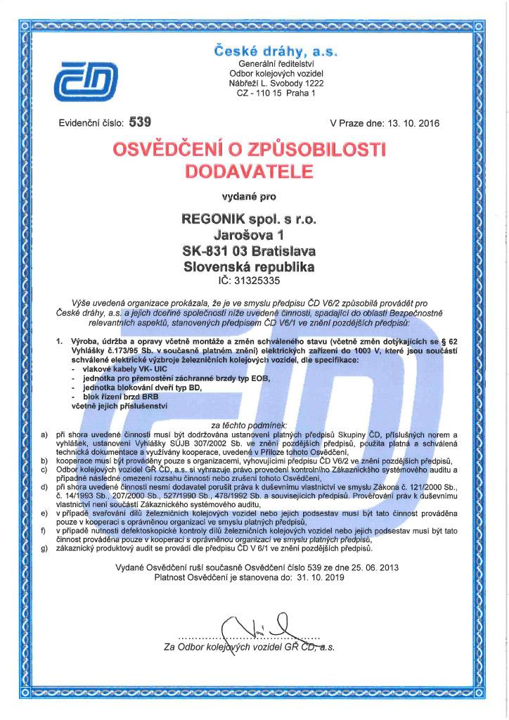 Certifikát ČD