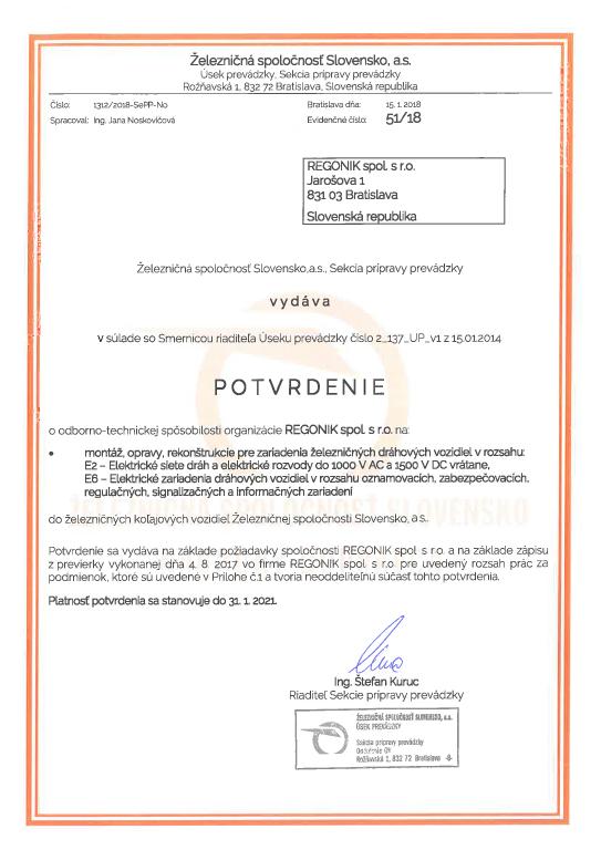 Certificate ŽSSK