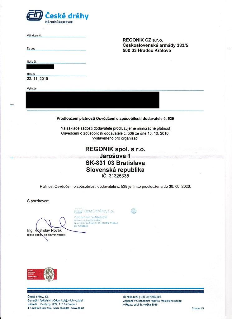 Osvedčenie kvality produktu ČD (predĺženie)