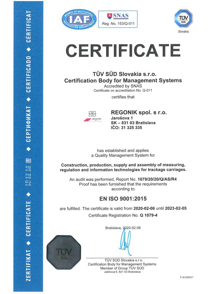 Certificate EN ISO 9001:2008