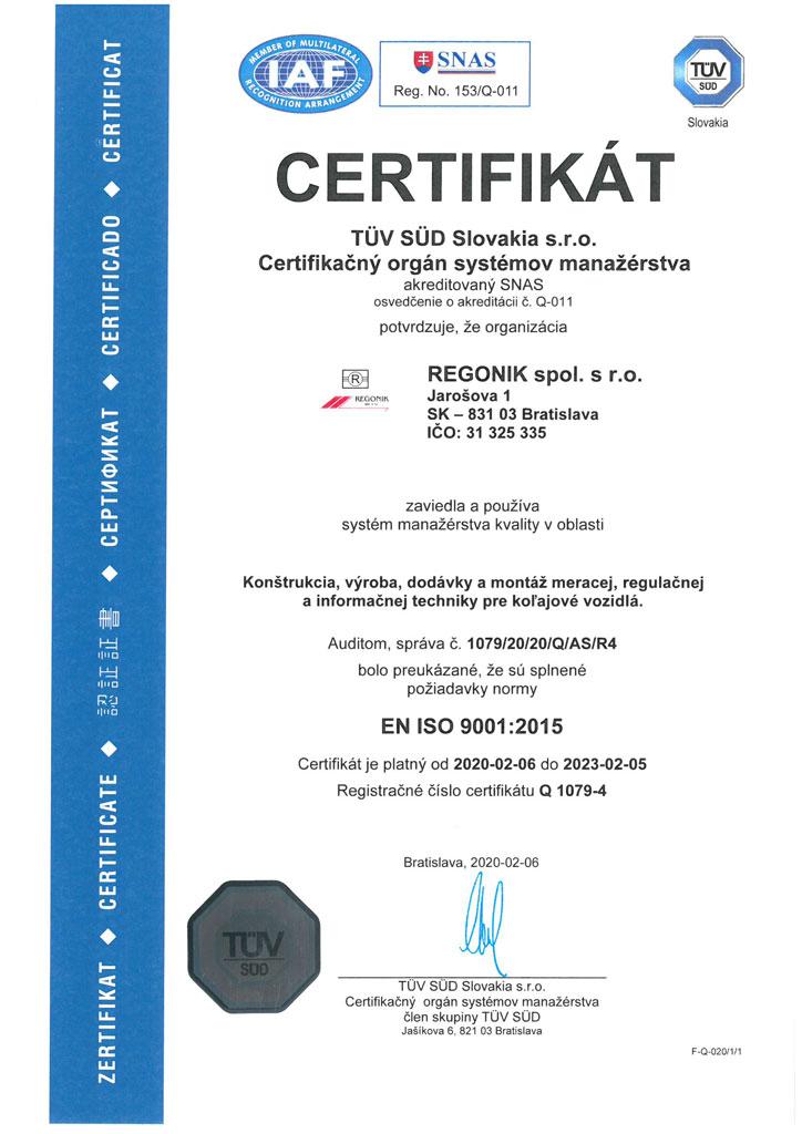 Certifikát EN ISO 9001:2008