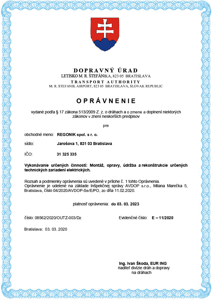 Authorization of the Transport authority