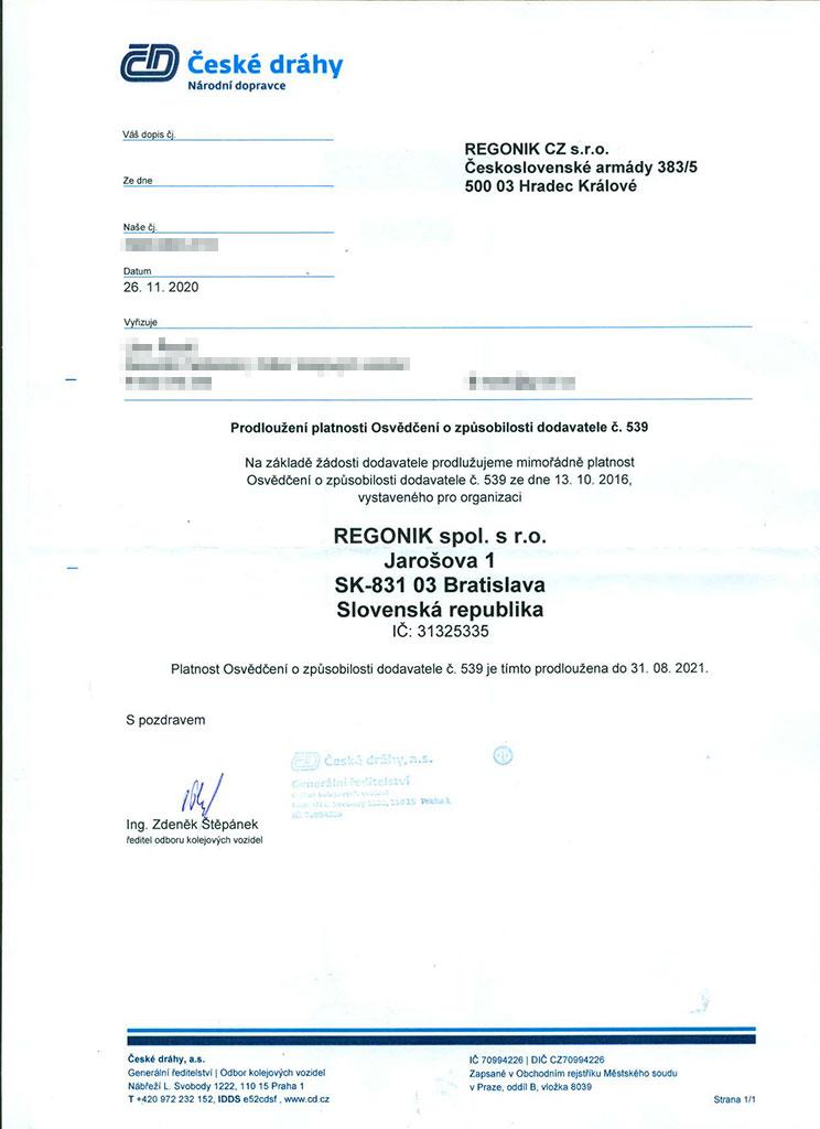 Certificate ČD (prolongation)